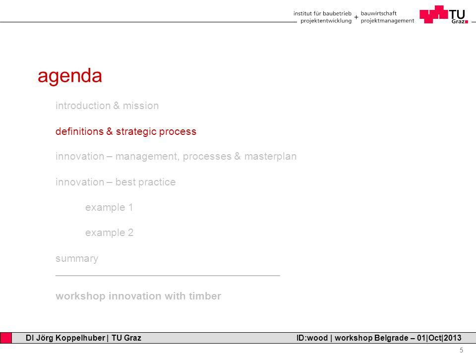 Professor Horst Cerjak, 19.12.2005 5 DI Jörg Koppelhuber   TU Graz ID:wood   workshop Belgrade – 01 Oct 2013 agenda introduction & mission definitions & strategic process innovation – management, processes & masterplan innovation – best practice example 1 example 2 summary ______________________________________ workshop innovation with timber