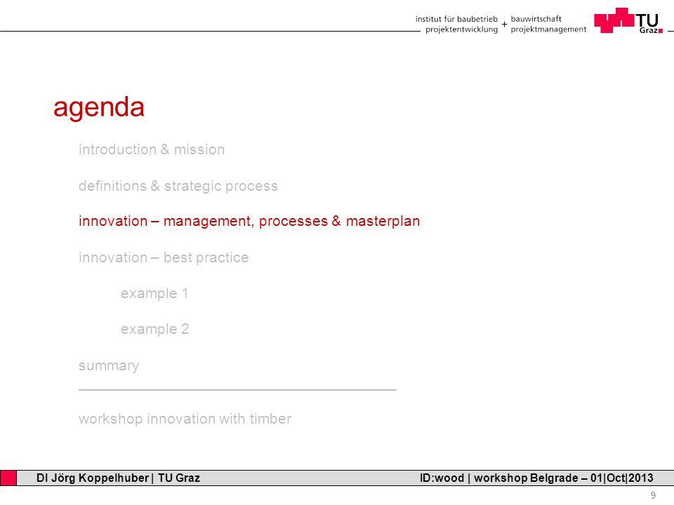 Professor Horst Cerjak, 19.12.2005 9 DI Jörg Koppelhuber   TU Graz ID:wood   workshop Belgrade – 01 Oct 2013 agenda introduction & mission definitions & strategic process innovation – management, processes & masterplan innovation – best practice example 1 example 2 summary ______________________________________ workshop innovation with timber
