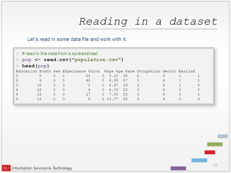 Reading in a dataset Let's read in some data file and work with it.