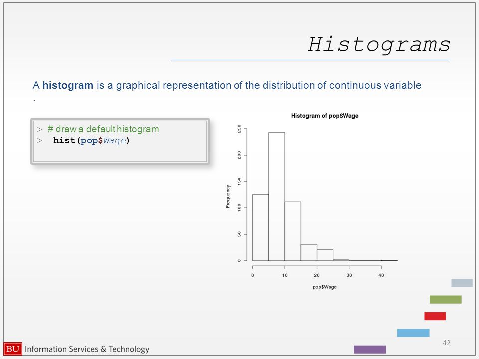 Histograms 42 > # draw a default histogram > hist(pop$Wage) > # draw a default histogram > hist(pop$Wage) A histogram is a graphical representation of the distribution of continuous variable.