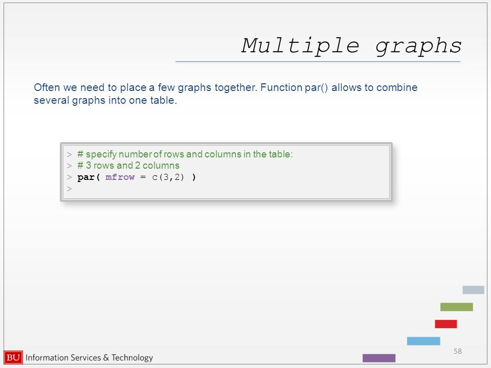Multiple graphs 58 Often we need to place a few graphs together.