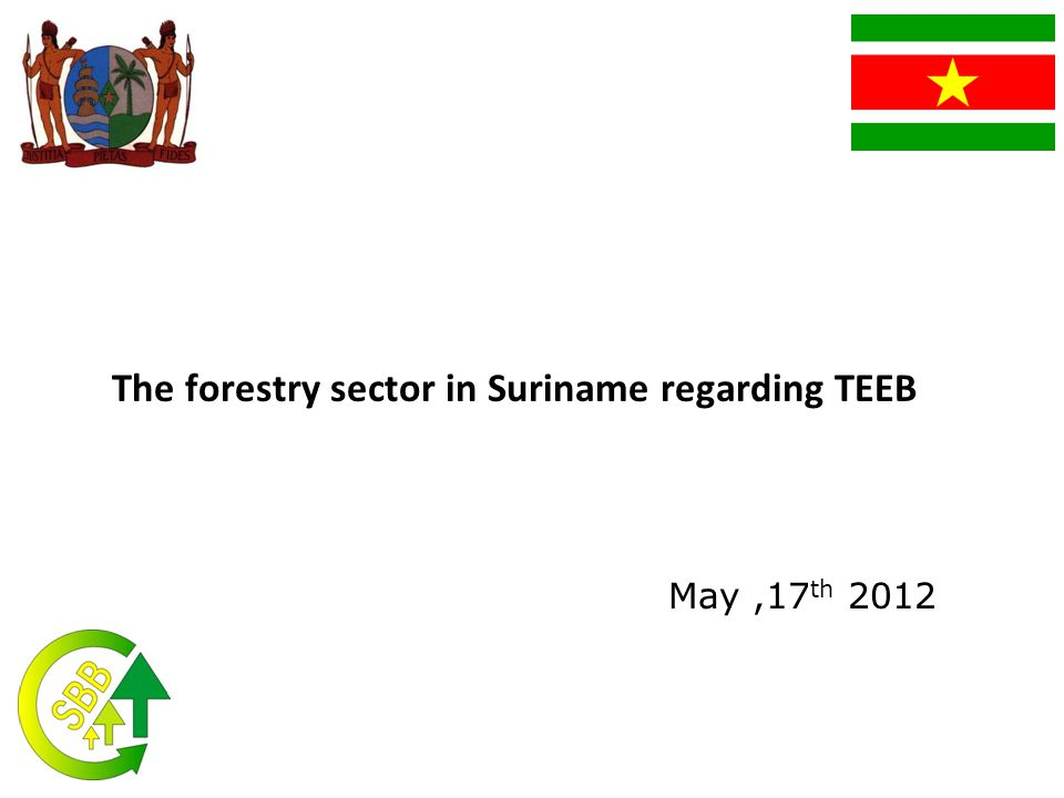 The forestry sector in Suriname regarding TEEB May,17 th 2012