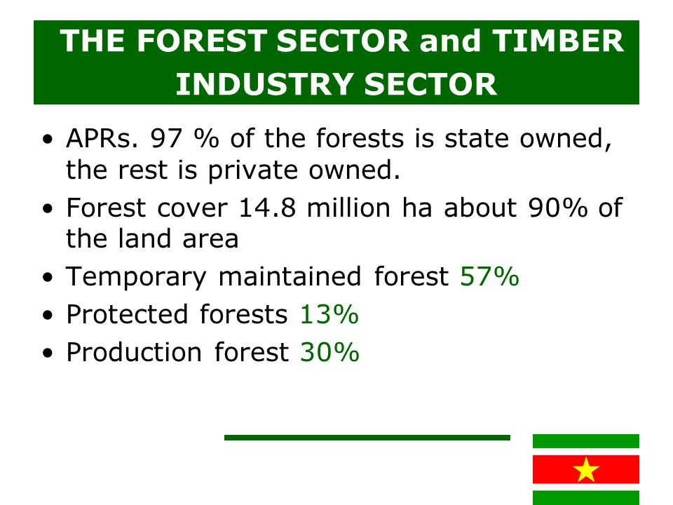 THE FOREST SECTOR and TIMBER INDUSTRY SECTOR APRs. 97 % of the forests is state owned, the rest is private owned. Forest cover 14.8 million ha about 9