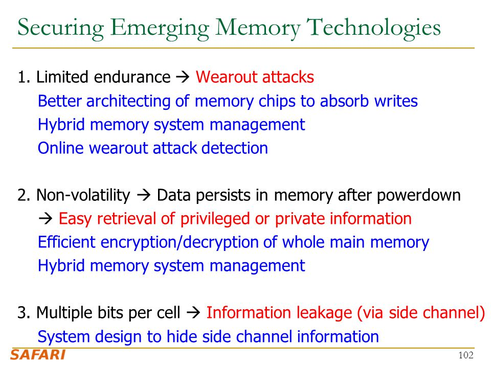 Securing Emerging Memory Technologies 1.