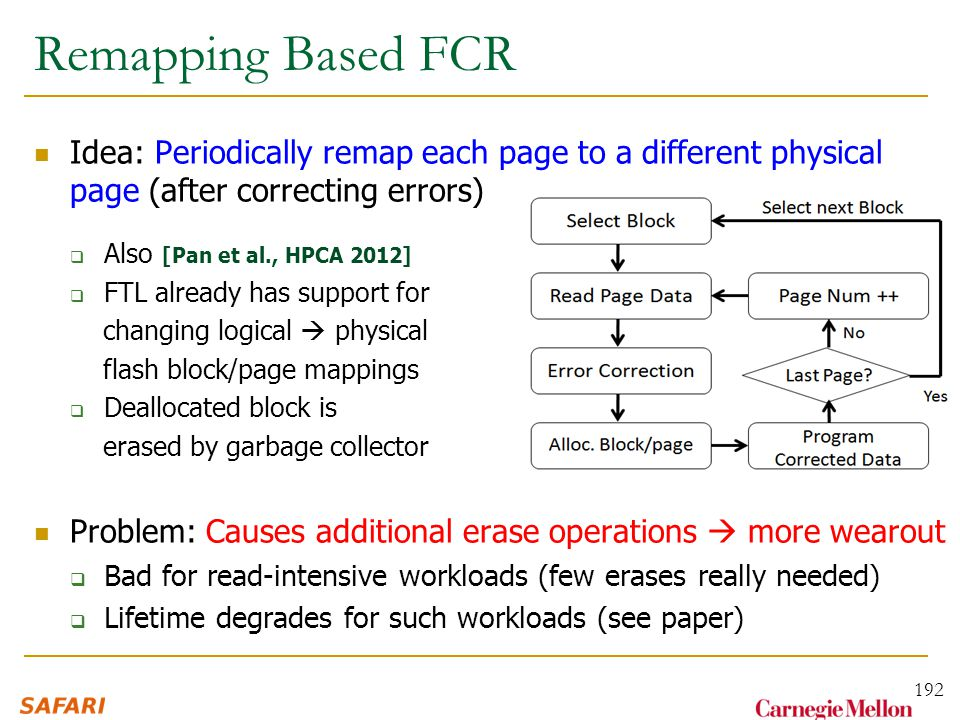 Remapping Based FCR Idea: Periodically remap each page to a different physical page (after correcting errors)  Also [Pan et al., HPCA 2012]  FTL already has support for changing logical  physical flash block/page mappings  Deallocated block is erased by garbage collector Problem: Causes additional erase operations  more wearout  Bad for read-intensive workloads (few erases really needed)  Lifetime degrades for such workloads (see paper) 192