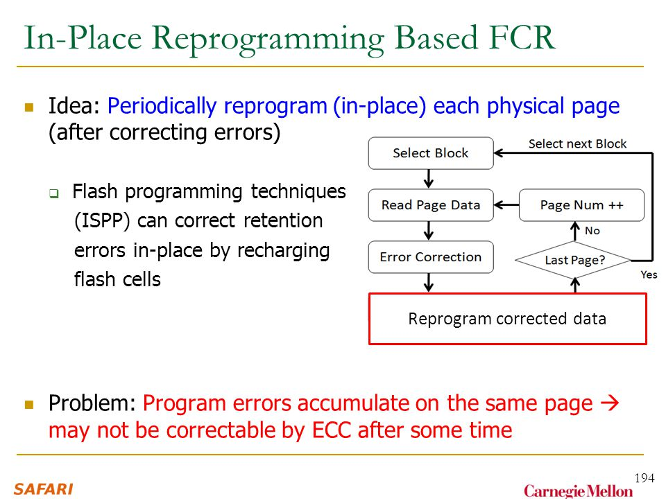 In-Place Reprogramming Based FCR Idea: Periodically reprogram (in-place) each physical page (after correcting errors)  Flash programming techniques (ISPP) can correct retention errors in-place by recharging flash cells Problem: Program errors accumulate on the same page  may not be correctable by ECC after some time 194 Reprogram corrected data