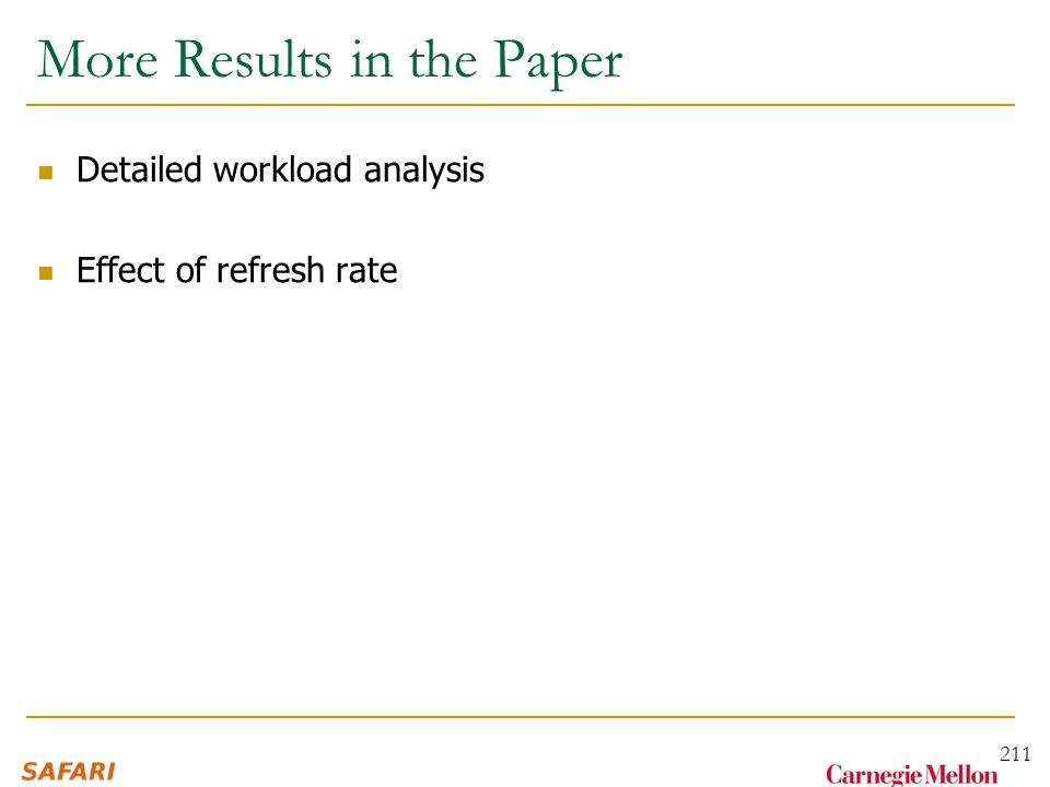 More Results in the Paper Detailed workload analysis Effect of refresh rate 211