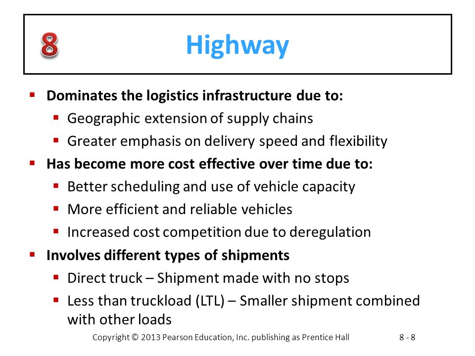 Copyright © 2013 Pearson Education, Inc. publishing as Prentice Hall8 - 8 Highway  Dominates the logistics infrastructure due to:  Geographic extens