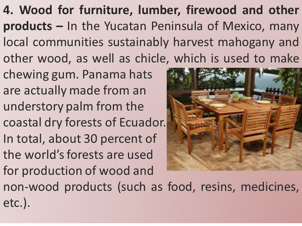4. Wood for furniture, lumber, firewood and other products – In the Yucatan Peninsula of Mexico, many local communities sustainably harvest mahogany a