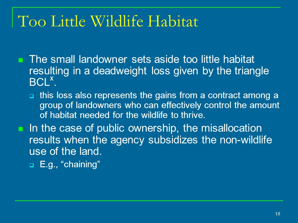 18 Too Little Wildlife Habitat The small landowner sets aside too little habitat resulting in a deadweight loss given by the triangle BCL x.  this lo