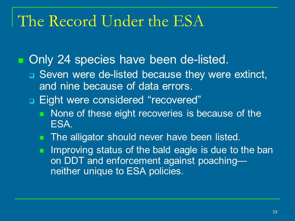 53 The Record Under the ESA Only 24 species have been de-listed.