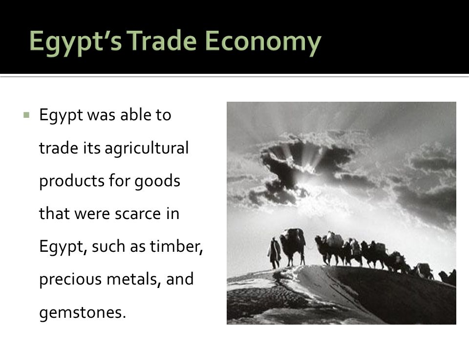  Egypt was able to trade its agricultural products for goods that were scarce in Egypt, such as timber, precious metals, and gemstones.
