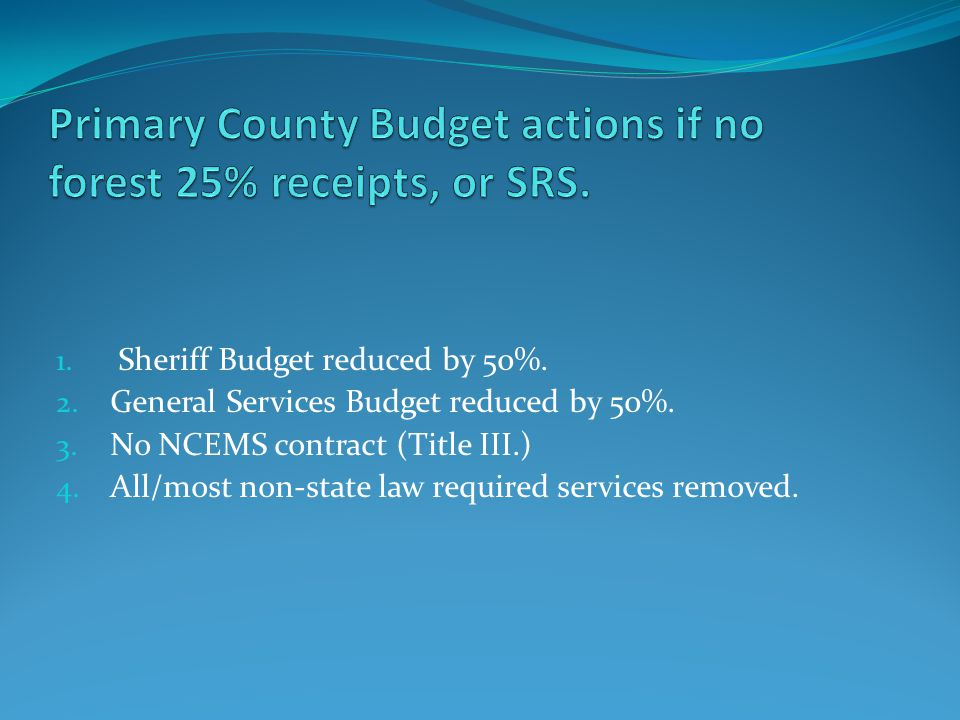 1. Sheriff Budget reduced by 50%. 2. General Services Budget reduced by 50%.