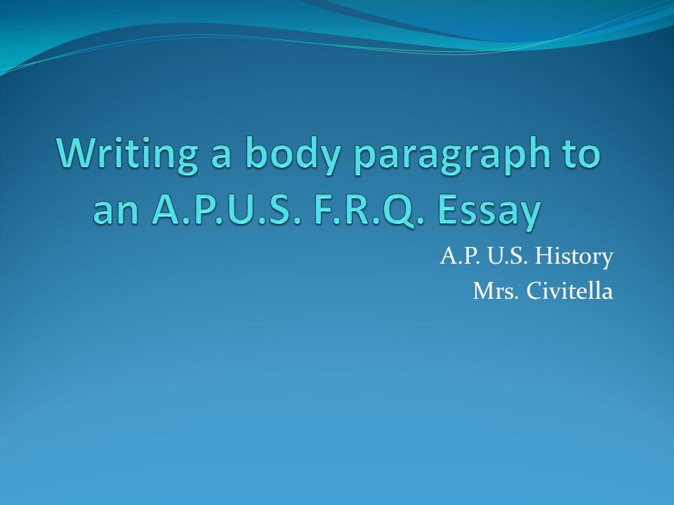 A.P. U.S. History Mrs. Civitella