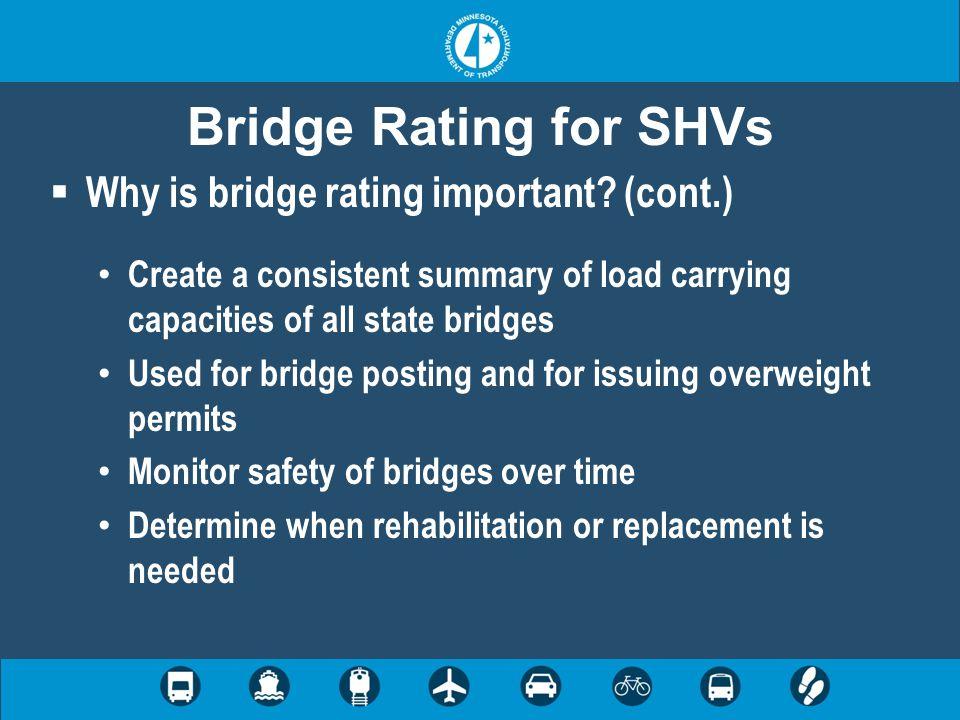 Bridge Rating for SHVs Type M3 Type M3S2-40 51' 80 kips Type M3S3 16' 48 kips  Minnesota legal trucks used to determine load posting 47' 80 kips