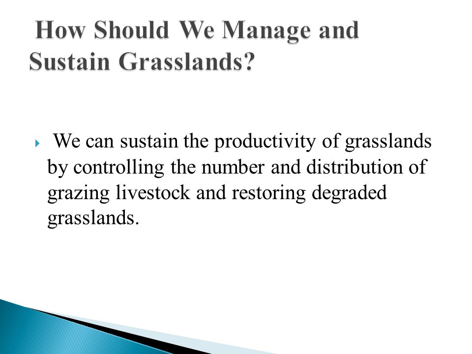  We can sustain the productivity of grasslands by controlling the number and distribution of grazing livestock and restoring degraded grasslands.