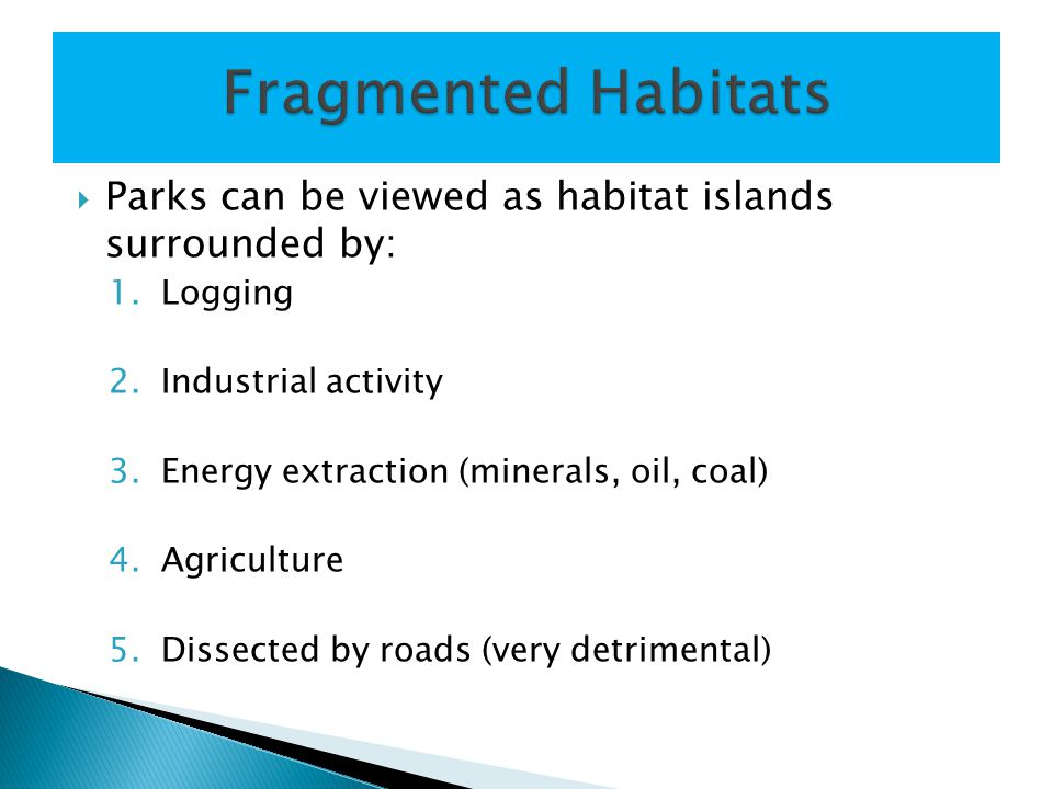  Parks can be viewed as habitat islands surrounded by: 1.Logging 2.Industrial activity 3.Energy extraction (minerals, oil, coal) 4.Agriculture 5.Dissected by roads (very detrimental)