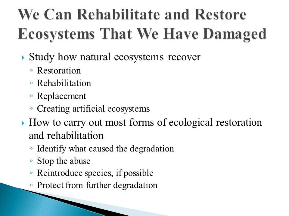 Study how natural ecosystems recover ◦ Restoration ◦ Rehabilitation ◦ Replacement ◦ Creating artificial ecosystems  How to carry out most forms of ecological restoration and rehabilitation ◦ Identify what caused the degradation ◦ Stop the abuse ◦ Reintroduce species, if possible ◦ Protect from further degradation