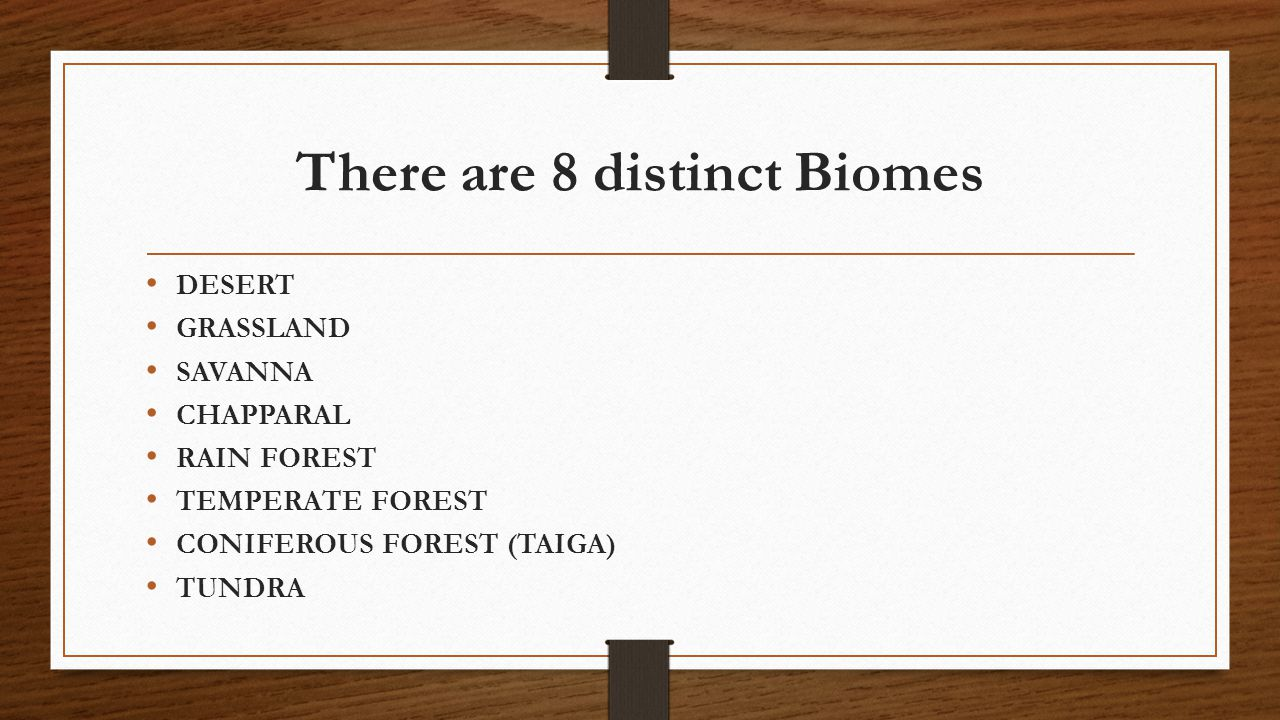 There are 8 distinct Biomes DESERT GRASSLAND SAVANNA CHAPPARAL RAIN FOREST TEMPERATE FOREST CONIFEROUS FOREST (TAIGA) TUNDRA