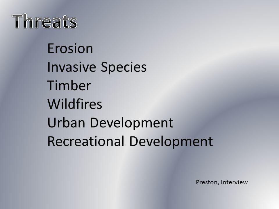 Erosion Invasive Species Timber Wildfires Urban Development Recreational Development Preston, Interview