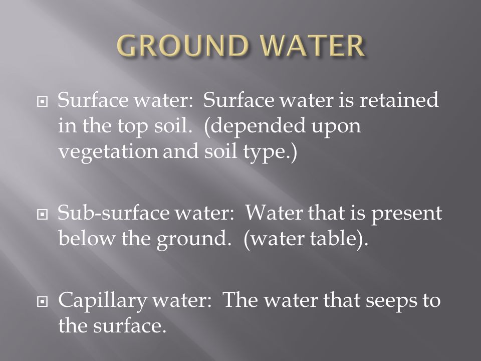  Surface water: Surface water is retained in the top soil.