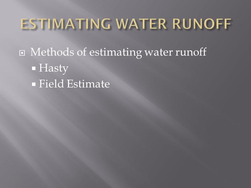  Methods of estimating water runoff  Hasty  Field Estimate