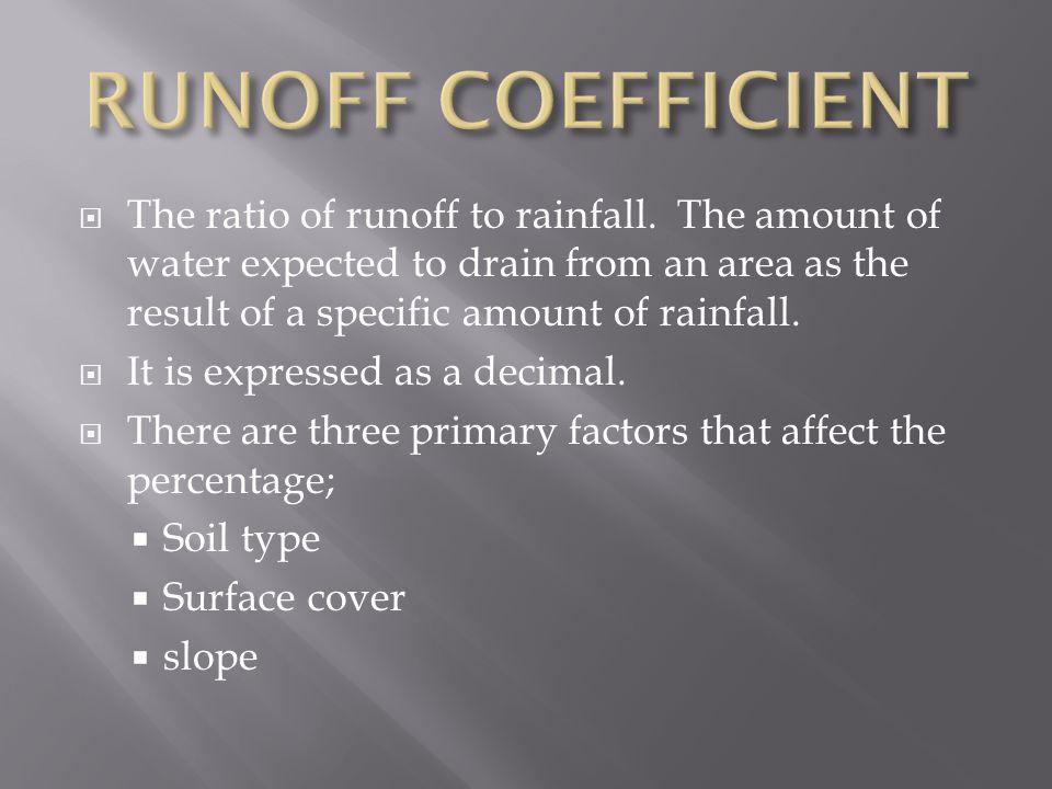  The ratio of runoff to rainfall.