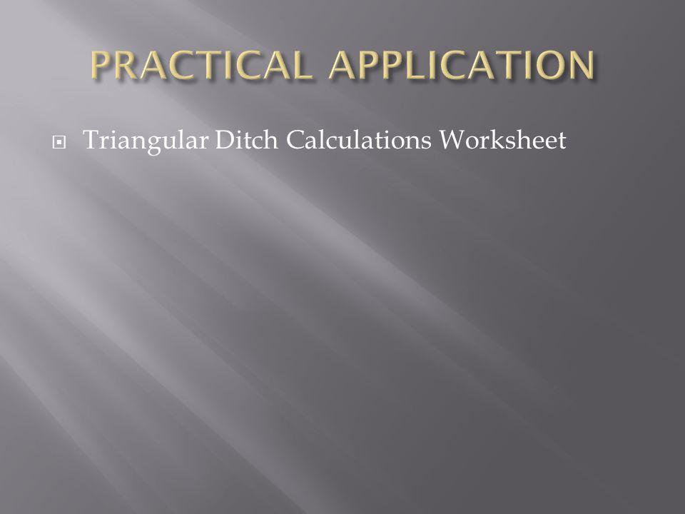  Triangular Ditch Calculations Worksheet