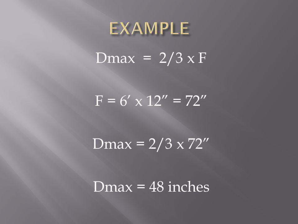 Dmax = 2/3 x F F = 6' x 12 = 72 Dmax = 2/3 x 72 Dmax = 48 inches