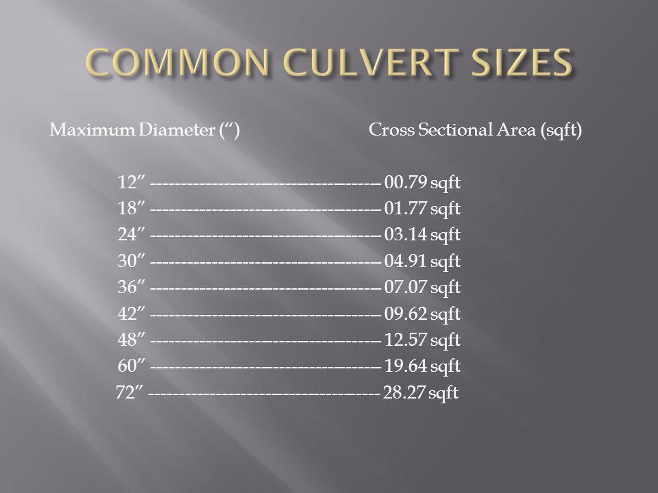 Maximum Diameter ( )Cross Sectional Area (sqft) 12 -------------------------------------- 00.79 sqft 18 -------------------------------------- 01.77 sqft 24 -------------------------------------- 03.14 sqft 30 -------------------------------------- 04.91 sqft 36 -------------------------------------- 07.07 sqft 42 -------------------------------------- 09.62 sqft 48 -------------------------------------- 12.57 sqft 60 -------------------------------------- 19.64 sqft 72 -------------------------------------- 28.27 sqft