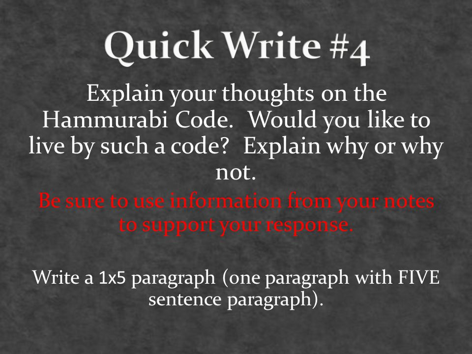 Explain your thoughts on the Hammurabi Code.Would you like to live by such a code.