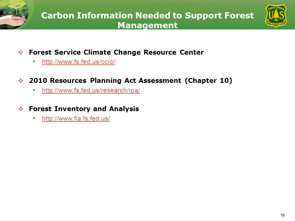 Carbon Information Needed to Support Forest Management  Forest Service Climate Change Resource Center  http://www.fs.fed.us/ccrc/ http://www.fs.fed.