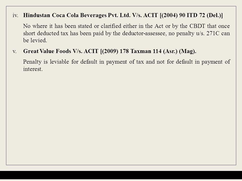 iv.Hindustan Coca Cola Beverages Pvt. Ltd. V/s.