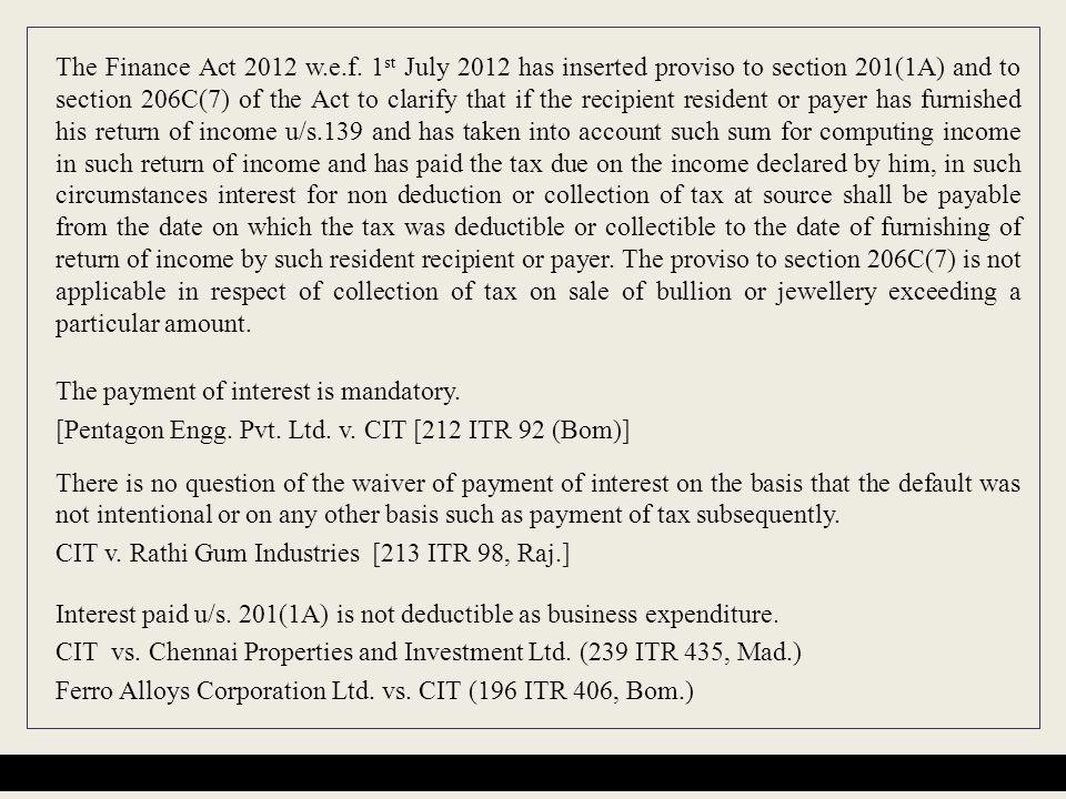 The Finance Act 2012 w.e.f.