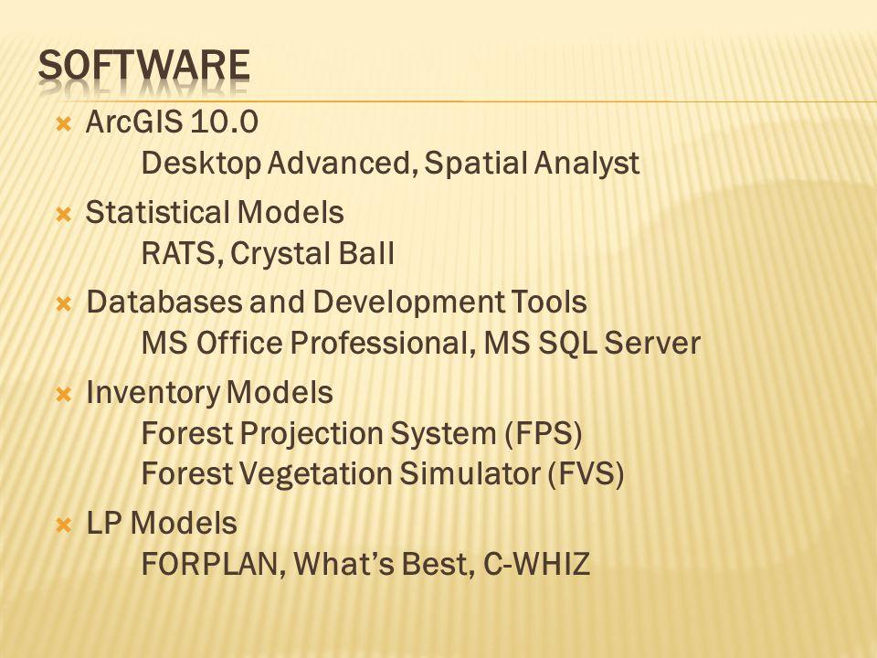  ArcGIS 10.0 Desktop Advanced, Spatial Analyst  Statistical Models RATS, Crystal Ball  Databases and Development Tools MS Office Professional, MS SQL Server  Inventory Models Forest Projection System (FPS) Forest Vegetation Simulator (FVS)  LP Models FORPLAN, What's Best, C-WHIZ