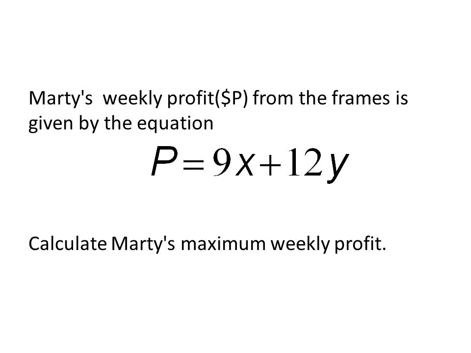 Marty s weekly profit($P) from the frames is given by the equation Calculate Marty s maximum weekly profit.