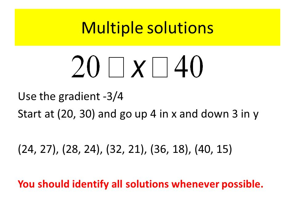 Multiple solutions Use the gradient -3/4 Start at (20, 30) and go up 4 in x and down 3 in y (24, 27), (28, 24), (32, 21), (36, 18), (40, 15) You should identify all solutions whenever possible.