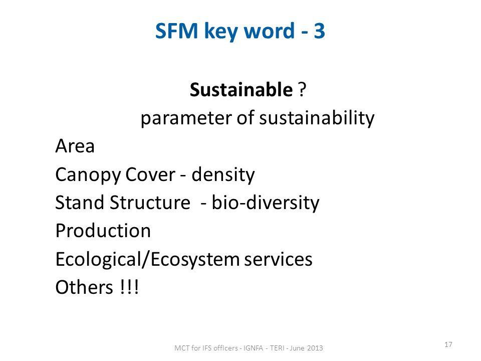 SFM key word - 3 Sustainable .