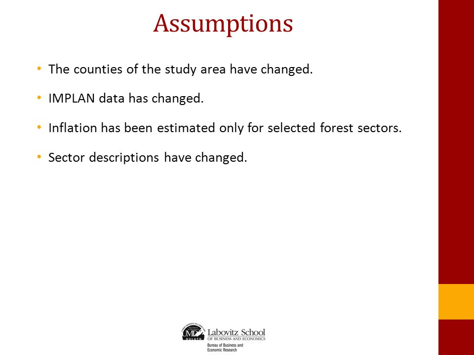 Assumptions The counties of the study area have changed.