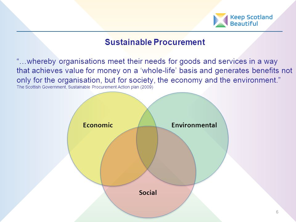 _________________________________________________________________ Sustainable Procurement …whereby organisations meet their needs for goods and services in a way that achieves value for money on a 'whole-life' basis and generates benefits not only for the organisation, but for society, the economy and the environment. The Scottish Government, Sustainable Procurement Action plan (2009) 6 EconomicEnvironmental Social