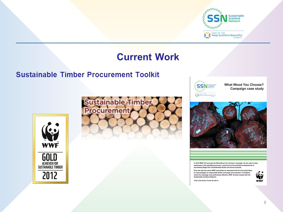 _________________________________________________________________ Current Work Sustainable Timber Procurement Toolkit 8