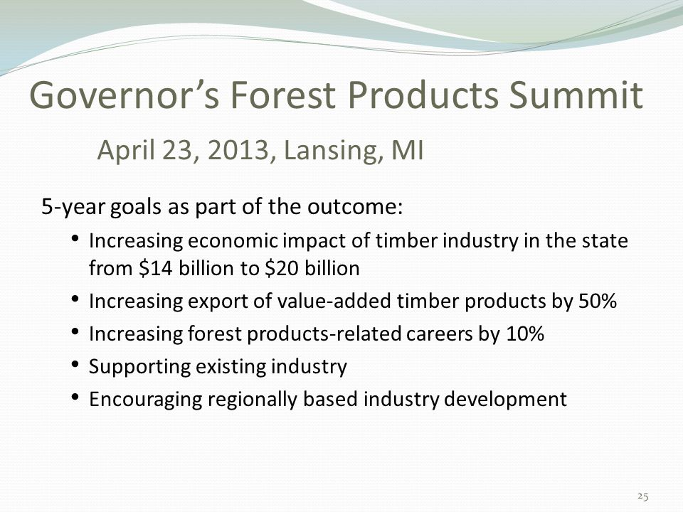Governor's Forest Products Summit April 23, 2013, Lansing, MI 5-year goals as part of the outcome: Increasing economic impact of timber industry in the state from $14 billion to $20 billion Increasing export of value-added timber products by 50% Increasing forest products-related careers by 10% Supporting existing industry Encouraging regionally based industry development 25