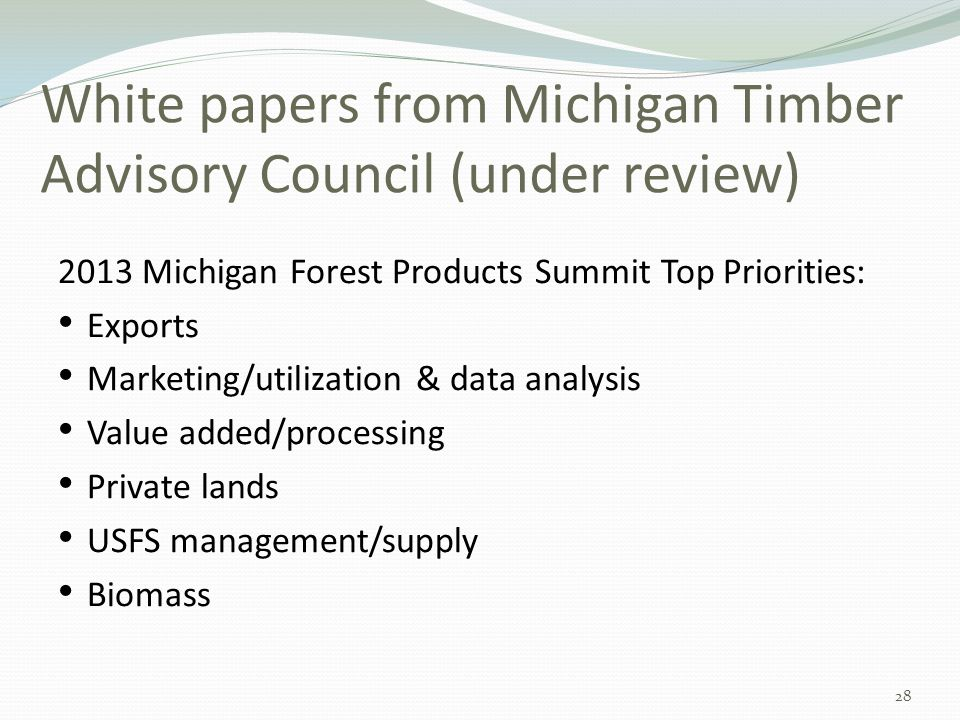 White papers from Michigan Timber Advisory Council (under review) 2013 Michigan Forest Products Summit Top Priorities: Exports Marketing/utilization & data analysis Value added/processing Private lands USFS management/supply Biomass 28