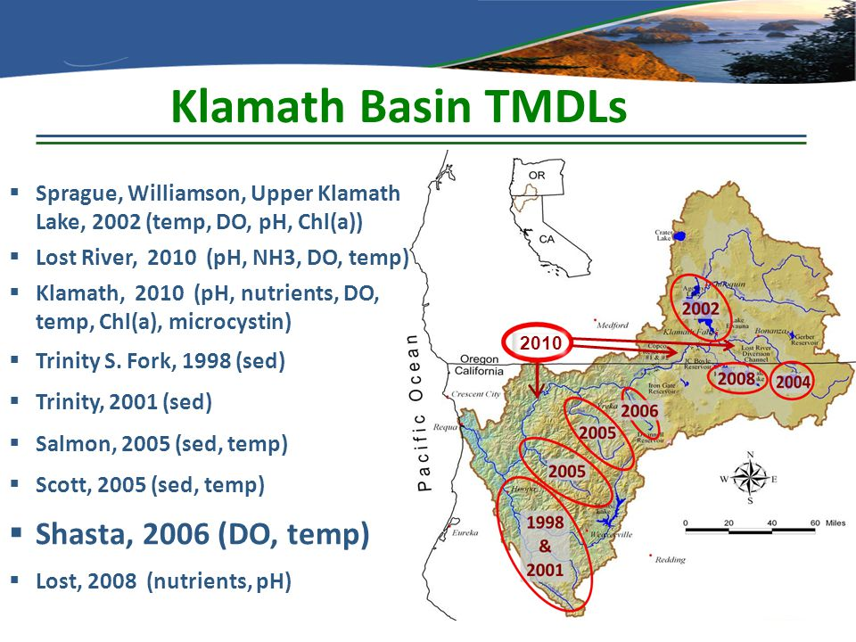 Klamath Basin TMDLs 2010  Sprague, Williamson, Upper Klamath Lake, 2002 (temp, DO, pH, Chl(a))  Lost River, 2010 (pH, NH3, DO, temp)  Klamath, 2010