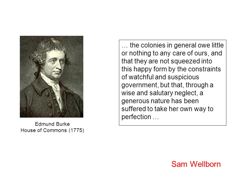 … the colonies in general owe little or nothing to any care of ours, and that they are not squeezed into this happy form by the constraints of watchful and suspicious government, but that, through a wise and salutary neglect, a generous nature has been suffered to take her own way to perfection … Edmund Burke House of Commons (1775) Sam Wellborn