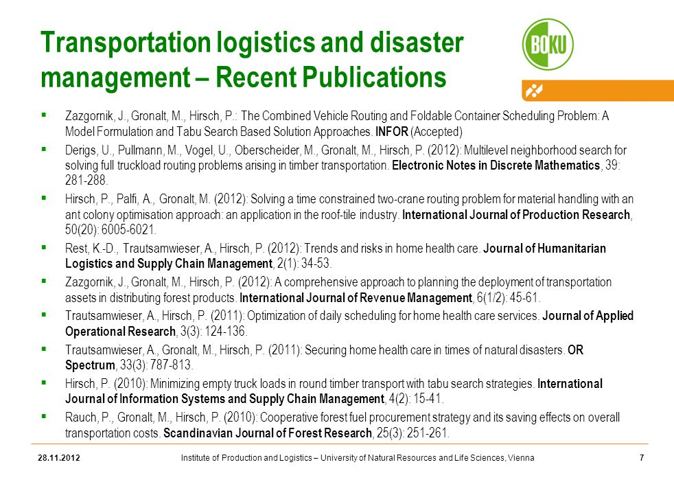 Institute of Production and Logistics – University of Natural Resources and Life Sciences, Vienna Transportation logistics and disaster management – Recent Publications  Zazgornik, J., Gronalt, M., Hirsch, P.: The Combined Vehicle Routing and Foldable Container Scheduling Problem: A Model Formulation and Tabu Search Based Solution Approaches.