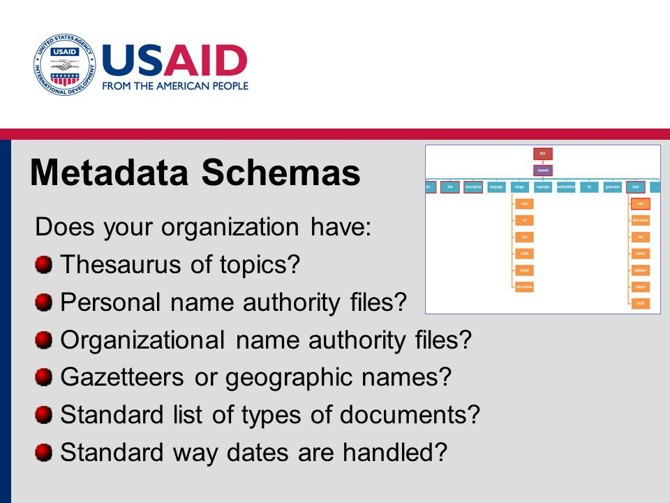 Metadata Schemas Does your organization have: Thesaurus of topics.