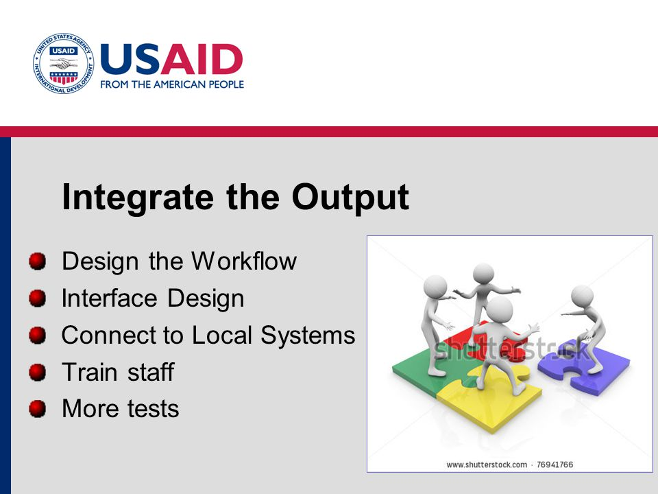 Integrate the Output Design the Workflow Interface Design Connect to Local Systems Train staff More tests