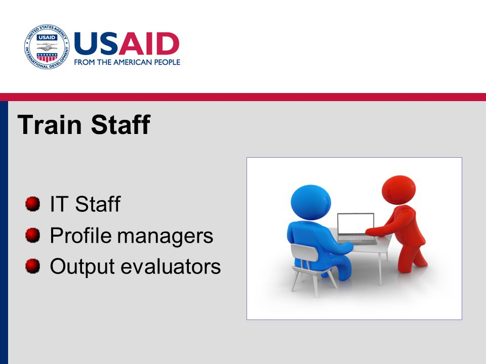 Train Staff IT Staff Profile managers Output evaluators