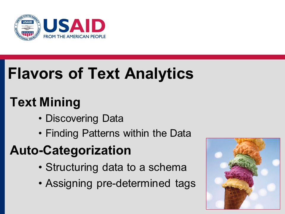 Flavors of Text Analytics Text Mining Discovering Data Finding Patterns within the Data Auto-Categorization Structuring data to a schema Assigning pre-determined tags